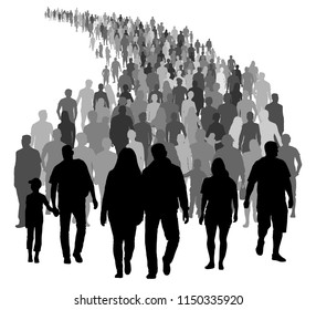 Big crowd of people is moving. Silhouette vector