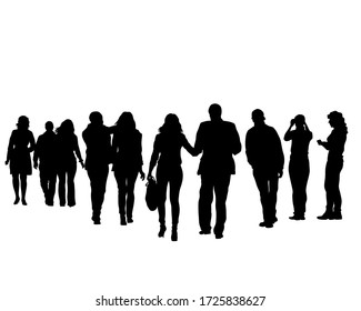 Big crowds people on street. Isolated silhouette on a white background