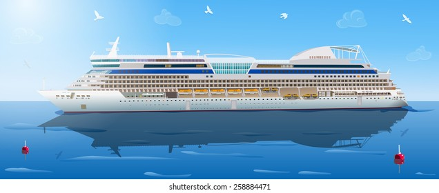 Big cruise ship in ocean. EPS 10 format.