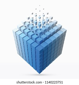 big cube scructure dissolving to small cubes. 3d style vector illustration. suitable for any banner, ad, technology, big data and abstract themes.