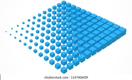 big cube scructure dissolving to small cubes. 3d style vector illustration.