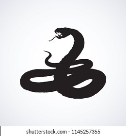 Big curve creepy viperidae crotalus asp serpentine on white backdrop. Dark black ink hand drawn zoo pictogram emblem logo in art retro contour etching print style. Closeup view space for text