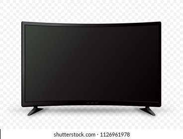 Big curved black wall TV on two holders with shadow on white transparent background. Television LED display screen. Flat media technology eletronic equipment. LCD computer monitor