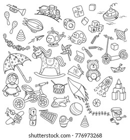 Big cute baby toy set. Collection of doodle hand draw vector baby icons. Baby shower design elements.