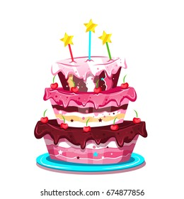 Big Cute Birthday Cake Vector Illustration