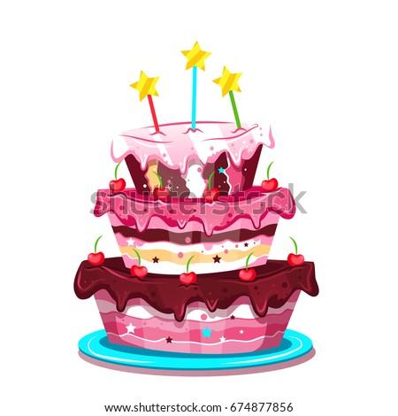 Big Cute Birthday Cake Vector Illustration