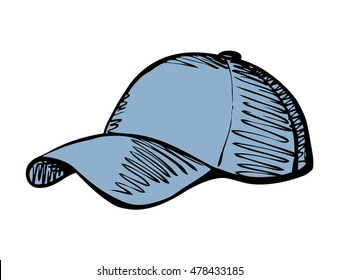 Big cute new blue sun shade cap isolated on white backdrop. Freehand outline ink hand drawn symbol sign sketchy in art scribble retro style pen on paper. Closeup side view with space for text
