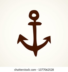 Big cute rough iron anchor on light water backdrop. Freehand outline dark ink hand drawn concept object logotype emblem sketchy in ancient art scribble style pen on paper space for text. Closeup view