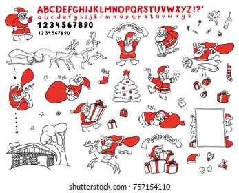 Big cute set vector sketch illustration of Santa Claus in different situations. Greeting Christmas and new year isolated objects for cards and handwritten letters. Style black contour on white round