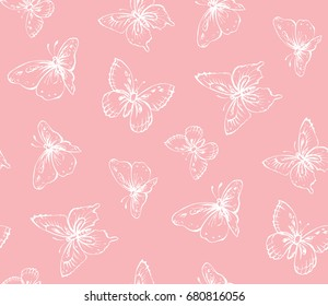Big cute wild fly hexapods isolated on gently magenta backdrop. Freehand linear ink hand drawn logo in art retro tileable openwork design style. View close up on light crimson sky