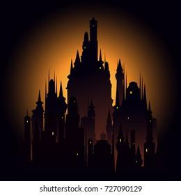 Big dark castle meeting sunset. Vector image.