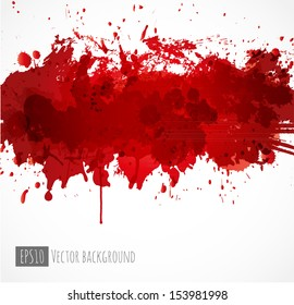Big dark red splash on white background. Vector illustration. Grunge background with place for your text.