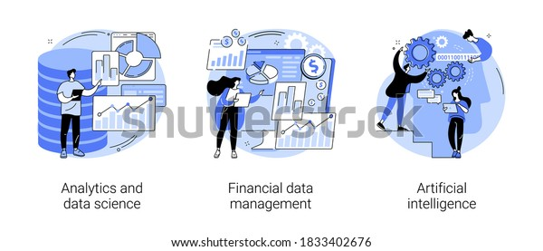 Big data abstract concept vector illustration set. Analytics and data science, financial data management, artificial intelligence, risk management, machine learning, dashboard abstract metaphor.