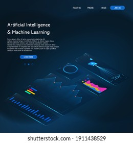 Big data abstract conceptual background. Machine learning algorithms image. Landing page template. Futuristic isometric infographic