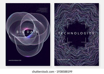 Big data abstract. Digital technology background. Artificial intelligence and deep learning concept. Tech visual for communication template. Partical big data abstract backdrop.