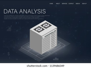 Big data in abstract style. Technology background. Website development vector illustration. Data center.