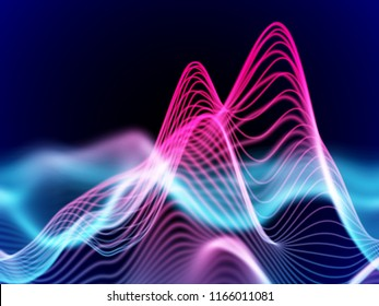 Big data abstract visualization: business charts analytics. 3D Sound waves. Digital surface with flowing curves. Futuristic technology background. Colorful sound waves, EPS 10 vector illustration.