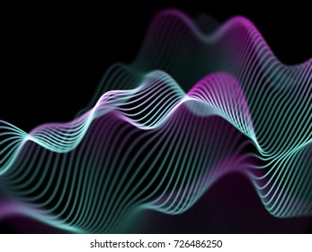Big data abstract visualization: digital information analysis.Digital landscape with flowing colored glowing sound waves. Futuristic technology background. 3D sound waves, EPS 10 vector illustration.