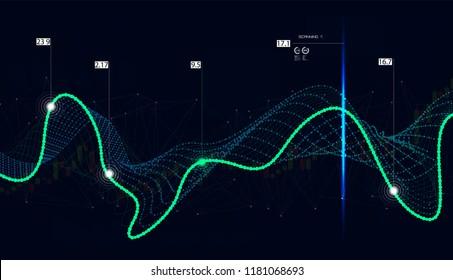 Big data algorithms, Quantum computing, data visualization technologies, deep learning artificial intelligence, signal cryptography infographic vector illustrations. Big data algorithms. Futuristic