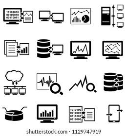 Big data, data analysis, computer and cloud computing web icon set