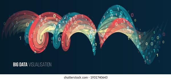 Big data analysis. Geometric colorful spiral array. Digital data visualization. Futuristic isometric finance tradings.