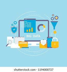 Big data analysis, data storage, global analytics flat vector illustration design. Big data technology and statistics, large database research design for web banners and apps