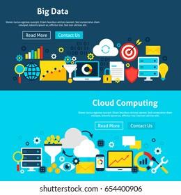 Big Data Analysis Website Banners. Vector Illustration for Web Header. Business Analytics Flat Design.