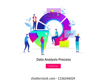 Big Data analysis.Teamwork,developer,programmer. business people. Flat cartoon miniature  illustration vector graphic on white background.