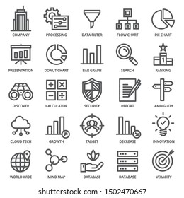 Big Data Analytics Icon Set - editable stroke. 48 x 48 pixels complete.   (Recommendations - Full Size 300 x 300 / Stroke 2px)