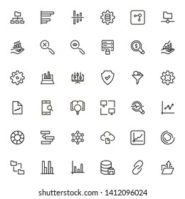 Big data analytics line icon set. Collection of high quality black outline logo for web site design and mobile apps. Vector illustration on a white background