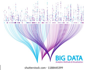 Big data analytics methods and visualization concept vector design. 0 and 1 binary code matrix data visualization. Big number of curve lines and points structure for analysis.