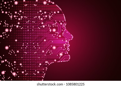 Big data and artificial intelligence concept. Machine learning and cyber mind domination concept in form of men face outline outline with circuit board and binary data flow on red background.
