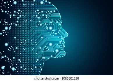 Big data and artificial intelligence concept. Machine learning and cyber mind domination concept in form of men face outline outline with circuit board and binary data flow on blue background.