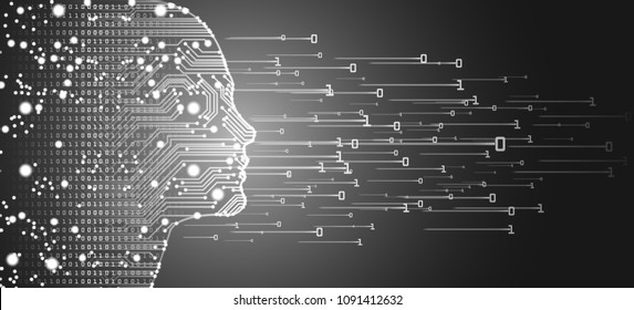 Big data and artificial intelligence concept. Machine learning and cyber mind domination concept in form of women face outline outline with circuit board and binary data flow on silver background.