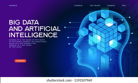 Big data. Artificial intelligence concept. Robot face and building abstract background