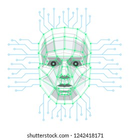 Big data and artificial intelligence concept. Human face consisting of polygons, points, lines and binary data flow on blue background. Machine learning and cyber mind . Vector illustration