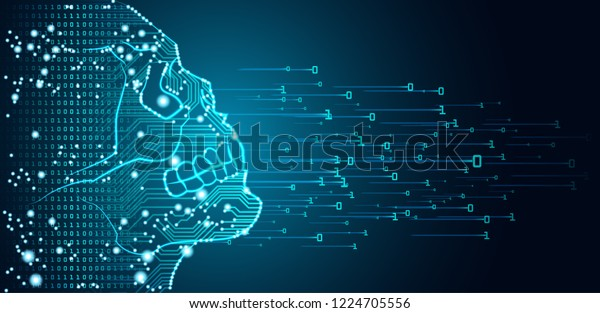 Big data and artificial intelligence danger concept. Machine learning and cyber mind treat concept in form of human skull outline outline with circuit board and binary data flow on blue background.