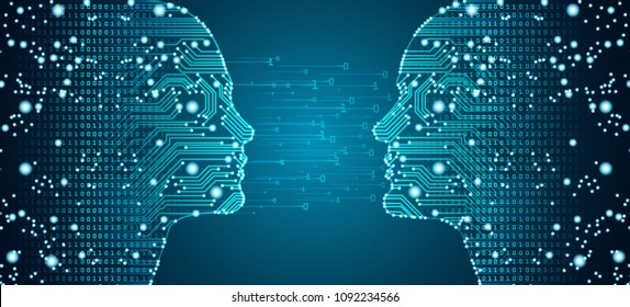 Big data, artificial intelligence, machine learning in online dating in form of women and men face outline outline with circuit board and binary data flow on blue background.