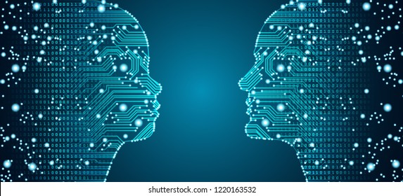 Big data, artificial intelligence, machine learning in online face-to-face parent child communciation in form of child and men faces outline with circuit board and binary data flow.