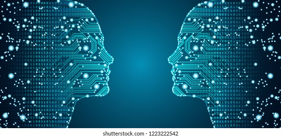 Big data, artificial intelligence, machine learning in online face-to-face marketing concept in form of two woman faces outline with circuit board and binary data flow on blue background.