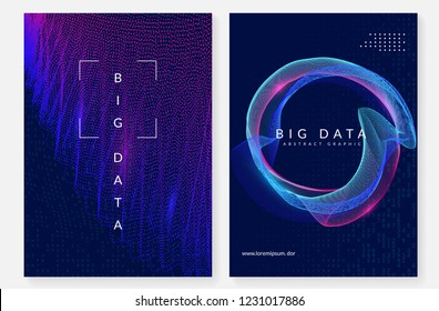 Big data background. Technology for visualization, artificial intelligence, deep learning and quantum computing. Design template for network concept. Fractal big data backdrop.