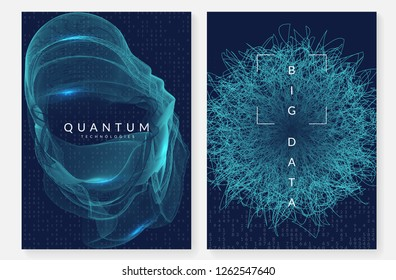 Big data background. Technology for visualization, artificial intelligence, deep learning and quantum computing. Design template for screen concept. Digital big data backdrop.