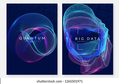 Big data background. Technology for visualization, artificial intelligence, deep learning and quantum computing. Design template for communication concept. Abstract big data backdrop.