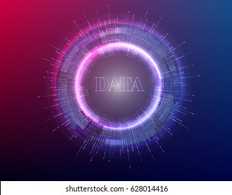 big data background vector illustration. Information streams. Future technology. Fractal element with binary code.