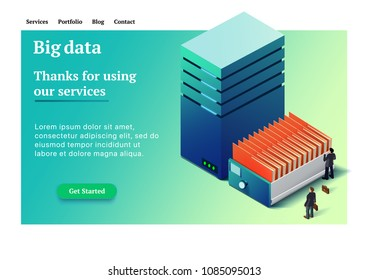 Big data. Backup copy. Concept of big data processing. Datacenter isometric vector illustration. Big data flow processing concept. Site for providing services for storing large data