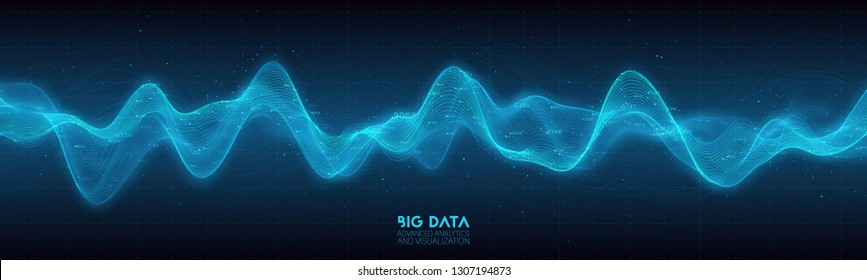Big data blue wave visualization. Futuristic infographic. Information aesthetic design. Visual data complexity. Complex business chart analytics. Social network representation. Abstract data graph