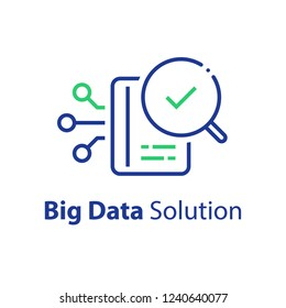Big data capturing, storage and analysis, technology solution concept, vector line icon, linear illustration