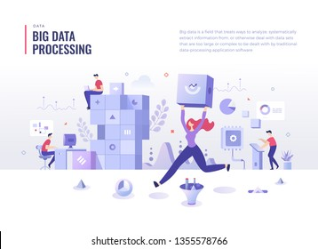 Big data center concept. People collect, store and analyze data. Data processing and analysis. Flat design illustration for web banners and printed materials