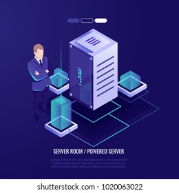 Big data center, professional hosting concept, man stay with server rack room isometric vector illustration ultraviolet background