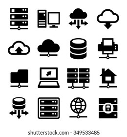 Big Data Center and Server Icons Set. Vector